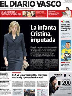Los Titulares y Portadas de Noticias Destacadas Españolas del 4 de Abril de 2013 del Diario Vasco ¿Que le parecio esta Portada de este Diario Español?