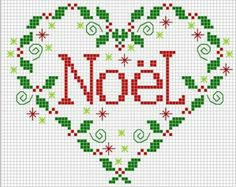 """Grille point de croix """"Coeur de Noël"""" en plusieurs langues... - Les grilles de Liselotte"""