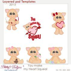 You Make My Heart Squeal Layered Element Templates , cudigitals.com, cu, commercial, scrap, scrapbook, digital, graphics, clipart, Valentine,