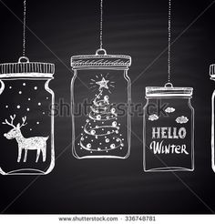 blackboard Tree Images, Stock Photos & Vectors Chalk drawn white horizontal border with Christmas tree, clouds, text, snow and deer in a jar. Happy New Year Theme. Christmas Chalkboard Art, Christmas Wall Art, Printable Christmas Cards, Christmas Drawing, Christmas Paintings, Christmas Images, Christmas Crafts, Vector Christmas, Snowflakes Art