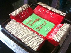 Anfield stadium cake made by my restaurant pastry chef for my son's b'day! My Son Birthday, Birthday Cake, Pastry Chef, Liverpool Fc, Themed Cakes, Beautiful Cakes, How To Make Cake, Cupcake Cakes, Wedding Cakes