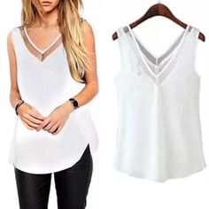"""White blouse with lace insert neckline ➖CONDITION: NEW ➖SIZE: small  ➖STYLE: a white tank with a beautiful lace inset in the neckline. The bottom hem is more straight than the stock photo. REFER to the last picture or the picture of the shirt   ➖MEASUREMENTS (small)       ➖BUST: 16""""       ➖LENGTH: 21.5""""       ➖SHOULDER TO SHOULDER: 14"""" Entropy Tops Blouses"""