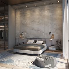 Our smart panel wall panel Grand Marmi: Paradise installed within a dreamy bedroom. Tailor made to measure panels. #wallpanels #smartpanels #bedroomdesign