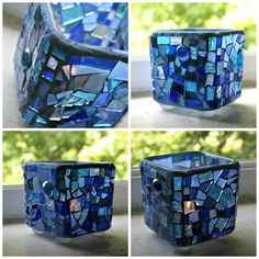 Etsy Mosaic Blue Stained Glass Candle Holder by earthmothermosaics, $50.00