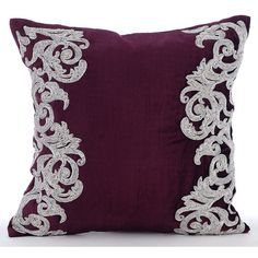 Decorative Throw Pillow Covers Accent Pillow Couch Pillow 16x16 Inches... ($35) ❤ liked on Polyvore featuring home, home decor, throw pillows, velvet throw pillows, silver home accessories, plum throw pillows, silver home decor and silver throw pillows