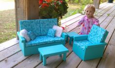 Livingroom Set for American Girl Doll Aqua S by CraftsbyLA on Etsy, $110.00
