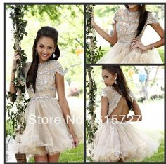 2014 Spring Short/Mini Colourful Cocktail Dresses/ Happy Beaded Crystal Organza Open Back Short Sleeve Prom/Party Dresses US $135.89