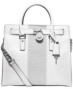 f10e6b80a064 MICHAEL Michael Kors Microstud Hamilton Center Stripe Large North South Tote,  Optic White >>