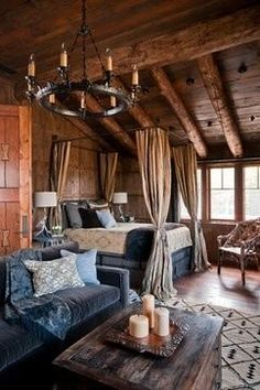 Wood Mountain Lodge For Your Relaxing Living Beautiful Rustic Bedroom Grey Sofa Canopy Bed Dancing Hearts