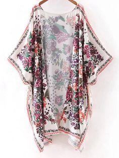 Multicolor Half Sleeve Print Cardigan Kimono 27.99