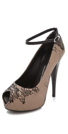 Open Toe Lace Pumps