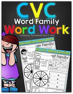 CVC Word Family Word Work- These hands-on activities help build fluency in beginning readers!