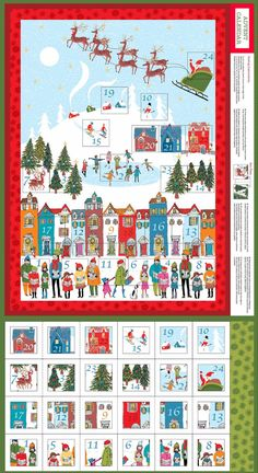 Wonderland Advent Calendar Panel, The Henley Studio for Andover Fabrics, 100% Cotton Fabric, TP-1466-1