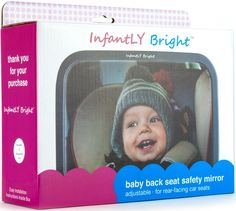Amazon.com : Baby Back Seat Safety Mirror For Rear Facing Car Seats from InfantLY Bright® - Drive SAFELY & EASILY w/Crystal Clear View of YOUR PRECIOUS CHILD without turning your head - Adjustable Highly Reflective Convex Shatterproof Design w/Soft Durable Frame - Premium Gift Box - 100% Satisfaction Guarantee : Baby