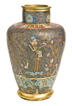 Vase Ming dynasty, early 16th century; base and lip ring, 18th century Cloisonné enamels on cast copper alloy; gilded cast copper alloy