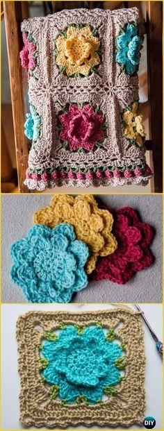 Flower Square Afghan Crochet Pattern Afghan Crochet Afghans And