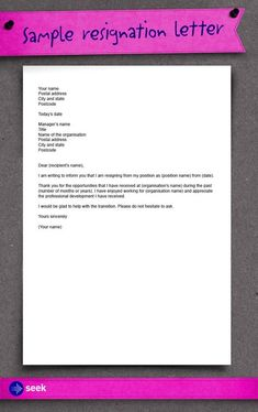 How to write a resignation letter - For more up to date career and job seeking advice, visit the SEEK Blog, The Seeker