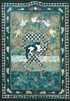 """""""Catnap"""" by Sandra Hoefner.  Narrative quilt.  The cat in the director's chair is eyeing the fish below and birds above.  Meanwhile, mice and rabbits run around the border."""