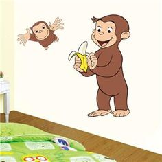 Choose Size Curious George Huge Wall Sticker Decal Vinyl Decor Cartoon Gift | eBay