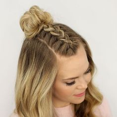 45 beeindruckende franz    sische Braid Frisuren   Tran    a   Pinterest     50 Incredibly Cute Hairstyles for Every Occasion   Braided Top Knot Half  Updo