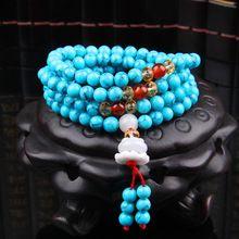 6mm naturelle Turquoise Pierre bouddhiste Bouddha Méditation 108 perles prière perles Mala Bracelet Femme Homme bijoux (Chine (continentale))