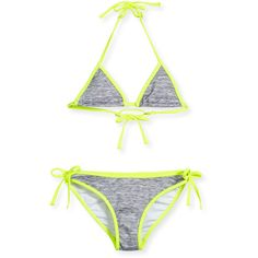 Milly Minis Melange Halter Tie Bikini ($88) ❤ liked on Polyvore featuring fluo yellow and kids girls swimwear