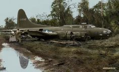 Colourising History - American Army salvage crew, and local helpers, recover a crashed B17 Bomber, in a Jungle somewhere in the Pacific Theater. Year unknown.  #Colourising #Colorizing #Colourisation #Colorization #WW2 #1945 #B17 #Bomber #USAAF #Pacific #Aircraft