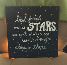 long distance friendship gifts, black board decorated with white writing, and glittering rhinestones
