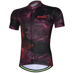 Sale 28% (17.61$) - AOGDA Unisex Petal Black Short Sleeve Cycling Jersey Outdoor Sports Summer Polyester Mesh Breathable