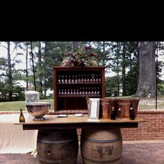 Wine bar! Love this for an outdoor party.