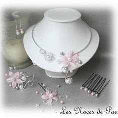 Parure mariage rose, gris et blanc à fleurs de soie anaïs 10 pièces f