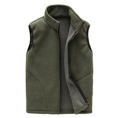 29d095efe88 LANBAOSI Winter Spring Men s Fleece Vest Casual Thermal Warm Zipper Fly  Pockets Waistcoat chaleco hombre Plus Size