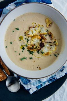Roasted Cauliflower Miso Soup, 30 minute dairy-free soup | www.scalingbackblog.com