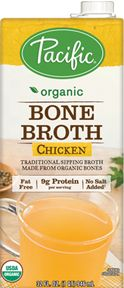 Organic Bone Broth Chicken – Look at all the Bone Broths Pacific makes! This means that if you need to make a healthy dinner for only one person, you can keep this amino acid/GLYCINE rich food in your cabinet.