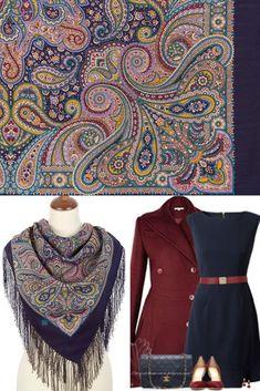 547ef757fd537 Russian Pavlovo Posad purple wool paisley shawl kerchief for women size  35
