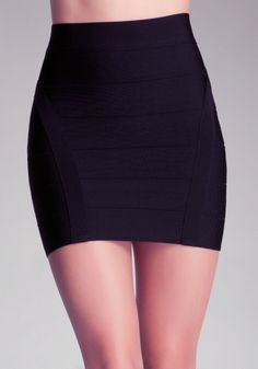 Give your bottoms a sexy new meaning with this shimmering bodycon bebe mini skirt, featuring a versatilebandage design that holds you. Try it with a high-low top and a pair of animal-printed sandals.