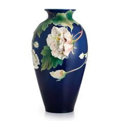 Franz Porcelain Collection Cotton Rose Flower Large Vase Limited Edition
