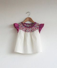 cotton blouse with Liberty print detail by swallowsreturn on Etsy