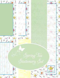 Spring Tea Stationery Set Printable Papers PDF