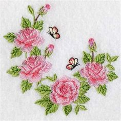 Premium Embroidery Embroidery Design: Butterfly Roses 3.62 inches H x 3.82 inches W
