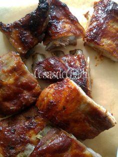Cosas de Chari: Costillas de cerdo al horno Salsa Barbacoa, Meat, Creativity, Drinks, Kids, Juices, Dishes, Baked Pork Ribs, Traditional Kitchen