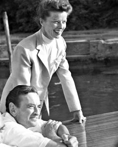 David Lean with Katharine Hepburn on the set of Summertime…