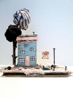 Wee Wooly Embrace mixed media sculpture by Cheryl Smith