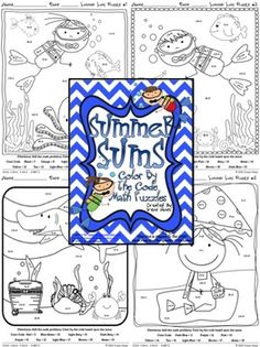 Summer Sums: Math Printables ~ Color By The Code Puzzles To Practice Basic Addition Facts.  ~This Unit Is Aligned To The CCSS. Each Page Has The Specific CCSS Listed.~  This set includes 4 math puzzles to practice basic addition facts. CCSS: 1.OA.6 ; 2.OA.2 ; 3.NBT.2  $