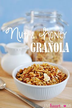Nut and Honey Granola ~ the BEST homemade granola you'll ever try (and it's easy, too)! | FiveHeartHome.com