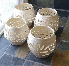 handmade pottery | Handmade Clay,Stoneware, Pottery, White Wedding Candle Luminary, Cross ...