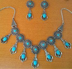 Collier-boucles-d-039-oreilles-metal-argente-pierre-turquoise-berbere-Touareg-Maroc