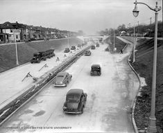 Detroit's Davison Freeway, opening to traffic on November 24, 1942 — almost fifteen years before the Interstate Highway Act. The first modern urban highway in the United States.