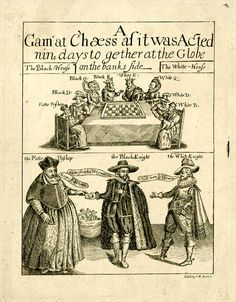 Title-page to Thomas Middleton, 'A Game at Chæss' (London [?], 1625); upper compartment, figures representing chess pieces around a table playing a game of chess; lower compartment, three figures representing 'the Fatte Bishop', 'the Black Knight', and 'the White Knight'. Nineteenth-century copy of seventeenth-century original.  Etching