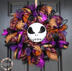 A personal favorite from my Etsy shop https://www.etsy.com/listing/526466750/halloween-deco-mesh-wreath-skeleton